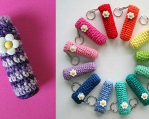Lip Balm Holder Keychain Free Crochet Pattern