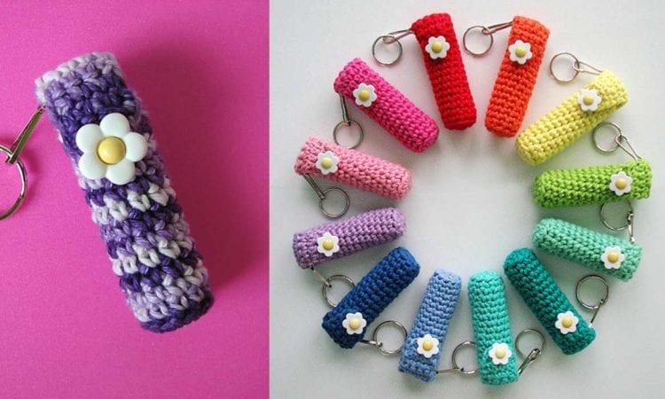 Lip Balm Holder Keychain Free Crochet Pattern