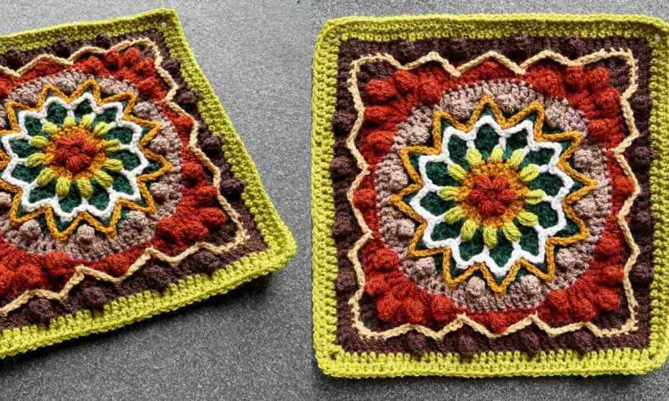 Rebirth Afghan Block Free Crochet Pattern