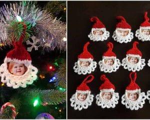 Santa Frame Ornament Free Crochet Pattern