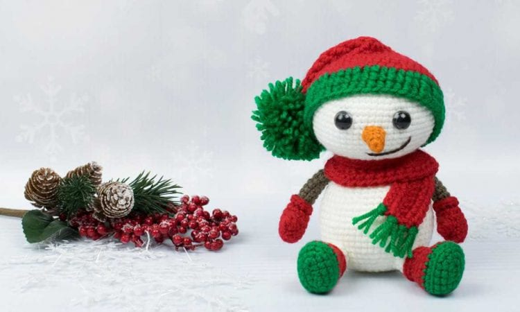 Snowman in Christmas Outfit Free Crochet Pattern