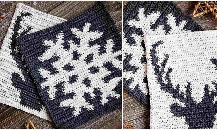 Winter Holiday Potholders Free Crochet Pattern
