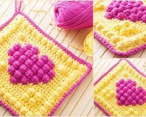 Bobble Heart Potholder Free Crochet Pattern