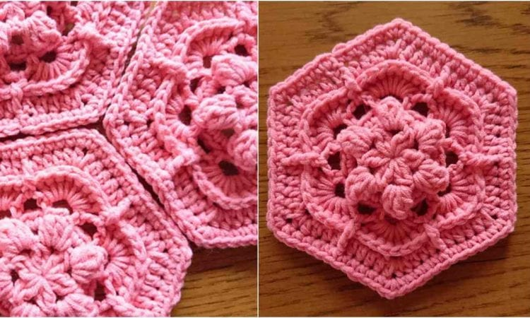 Flower Power Hexagon Free Crochet Pattern