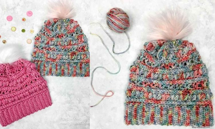 Love Bug Slouchy Hat Beanie Free Crochet Pattern