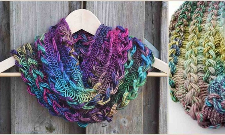 Braided Hairpin Lace Infinity Scarf Free Crochet Pattern
