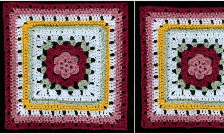 Veronica's Rose Square Free Crochet Pattern