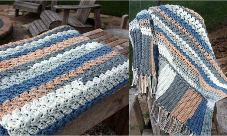 Westerly Beach Cottage Throw Free Crochet Pattern