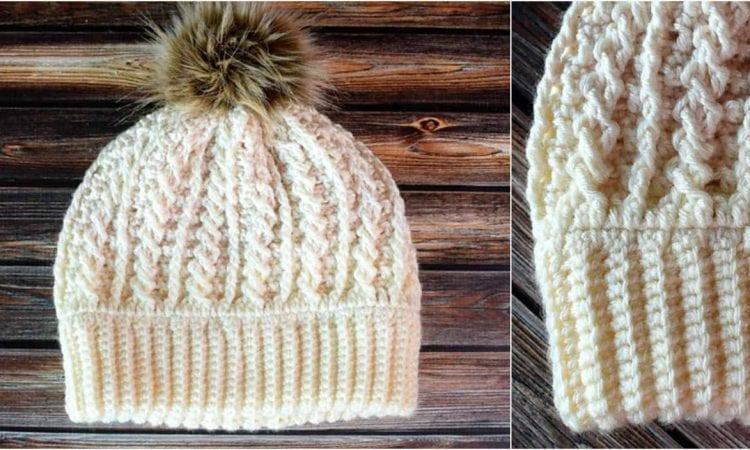 Double Brim Cable Hat Free Crochet Pattern