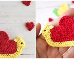 Heart Snail Applique Free Crochet Pattern