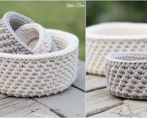 Mini Nesting Baskets Free Crochet Pattern
