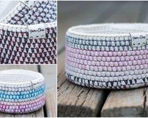 Mosaic Basket Free Crochet Pattern