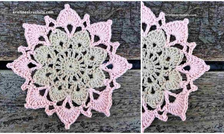 Two Color Flower Coaster Free Crochet Pattern and Video Tutorial
