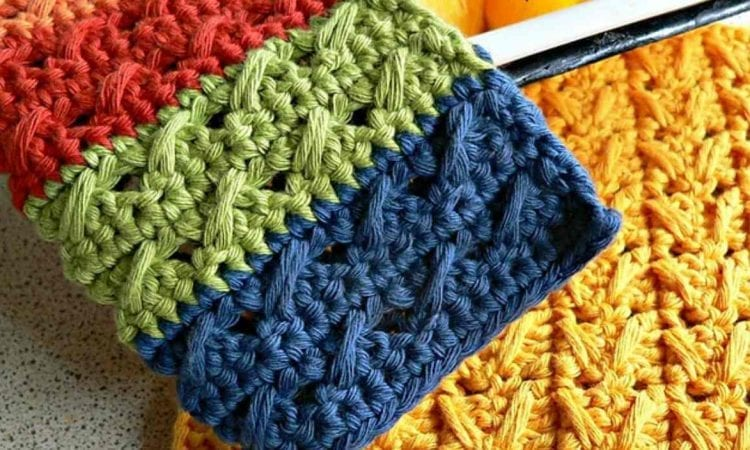 Cable Stitch Dishcloth Free Crochet Pattern