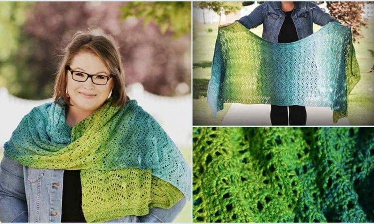 Chevron Waves Lacy Wrap Free Crochet Pattern