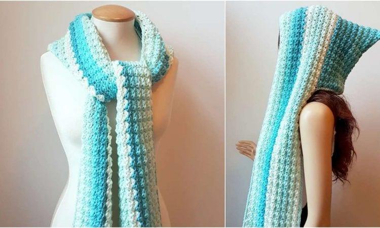 Faerie Mist Hooded Scarf Free Crochet Pattern