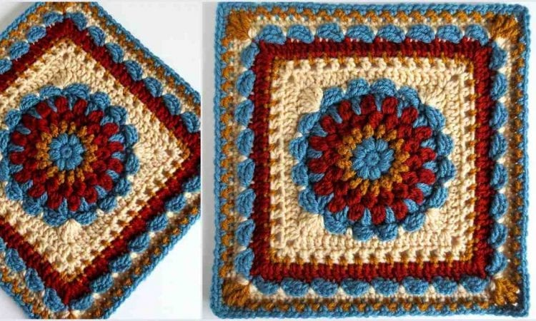 Floral Dimension Afghan Square Free Pattern