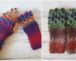 Dragon Scale Fingerless Free Crochet Pattern