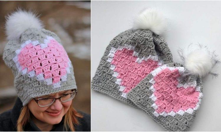 Heart C2C Hat Beanie Free Crochet Pattern