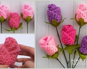 Origami Rose Flower Free Crochet Pattern