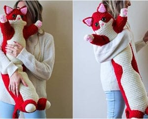 Valentine Kitty Pillow Free Crochet Pattern