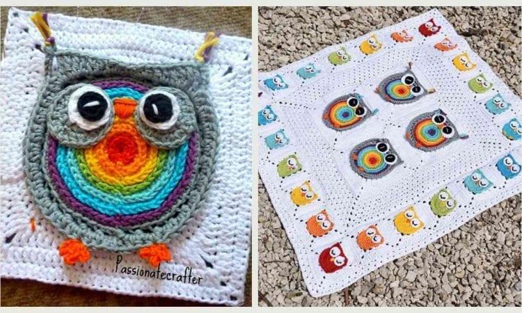 Owl Square Blanket Free Crochet Pattern