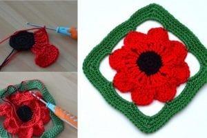 3D Poppy Granny Square Free Crochet Pattern