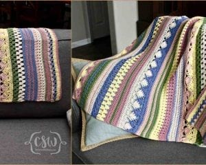Bohot Striped Baby Blanket Free Crochet Pattern