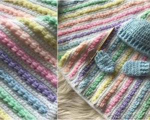 Rainbow Puff Blanket Free Crochet Pattern