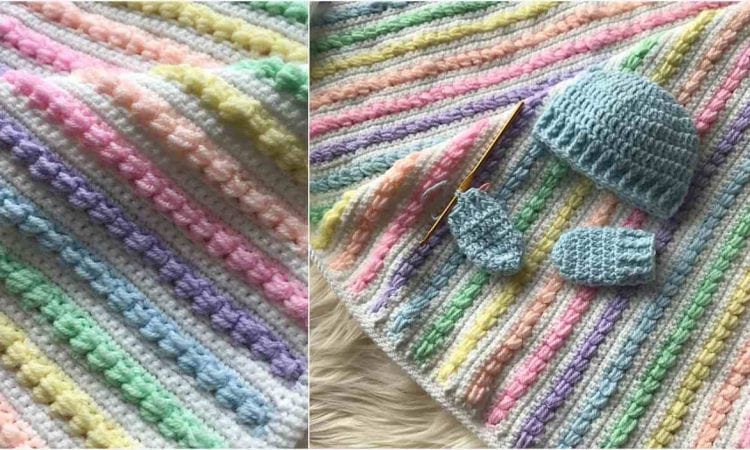Rainbow Puff Blanket Free Crochet Pattern