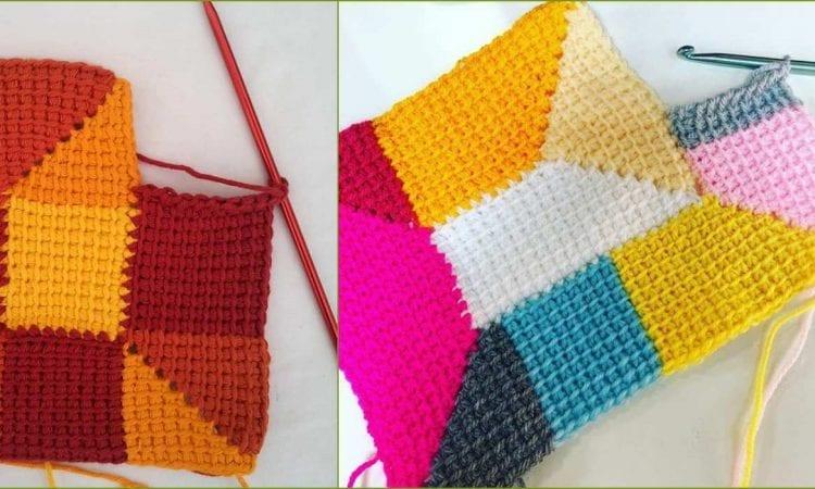 Tunisian Crochet Ten Stitch Blanket Free Crochet Pattern