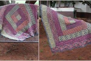 Wacky Weave Log Cabin Blanket Free Crochet Pattern