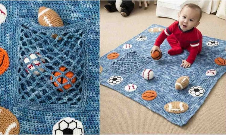 Young Athlete Blanket and Rattles Free Crochet Pattern