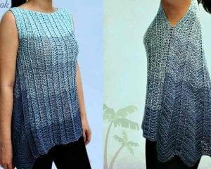 Asymmetrical Hem Tunic Free Crochet Pattern