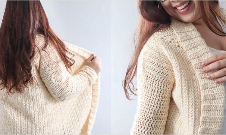 Cozy Cardigan Shrug in 18 Sizes Free Crochet Pattern
