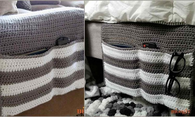 Cozy Couch Bedside Organizer Caddy Free Crochet Pattern