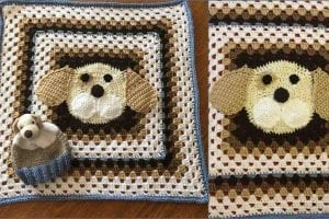 Puppy Granny Square Blanket Free Crochet Pattern