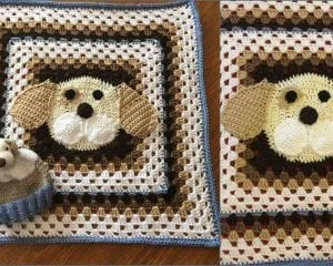 Puppy Granny Square Blanket Free Crochet Pattern