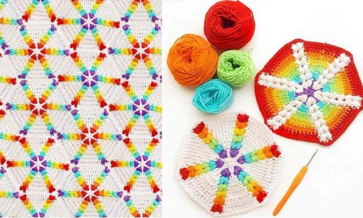 Rainbow Puff Hexagon Blanket Free Crochet Pattern