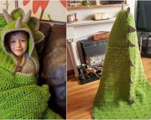 The 2 in 1 Hooded Dinosaur Blanket