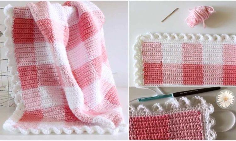 Pink Gingham Blanket Free Crochet Pattern