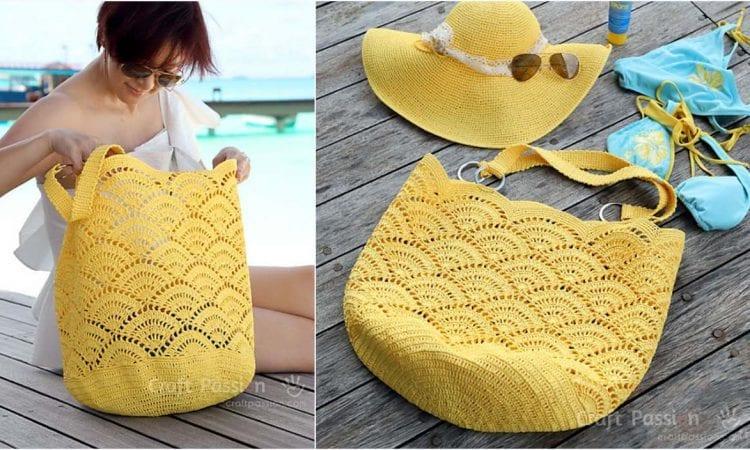 Giant Shell Stitch Beach Tote Free Crochet Pattern
