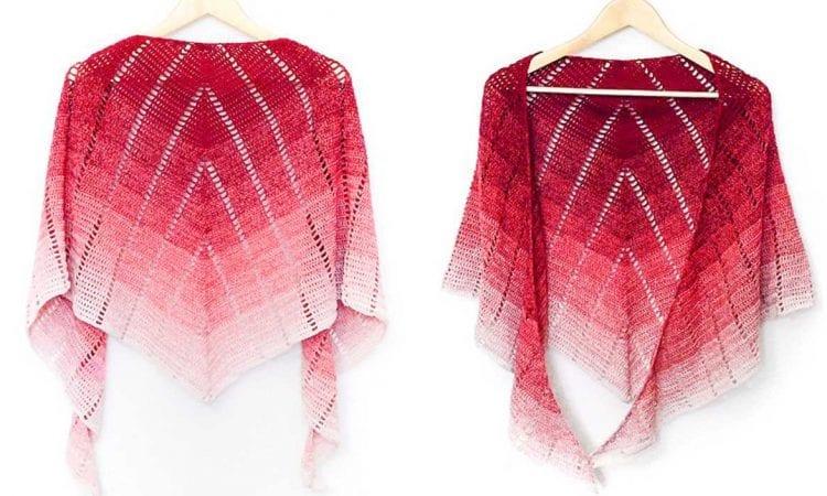 Raspberry Croissant Shawl Free Crochet Pattern