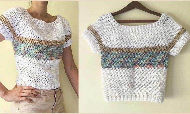 Short-Sleeved Sweater Free Crochet Pattern
