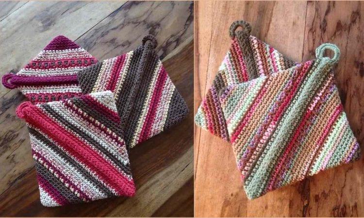Double Diagonal Potholder Free Crochet Pattern