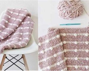 Velvet Dotted Lines Blanket Free Crochet Pattern