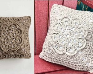 Textured Flower Pillow Free Crochet Pattern