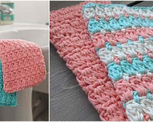 Bobble Stitch Washcloth Free Crochet Pattern