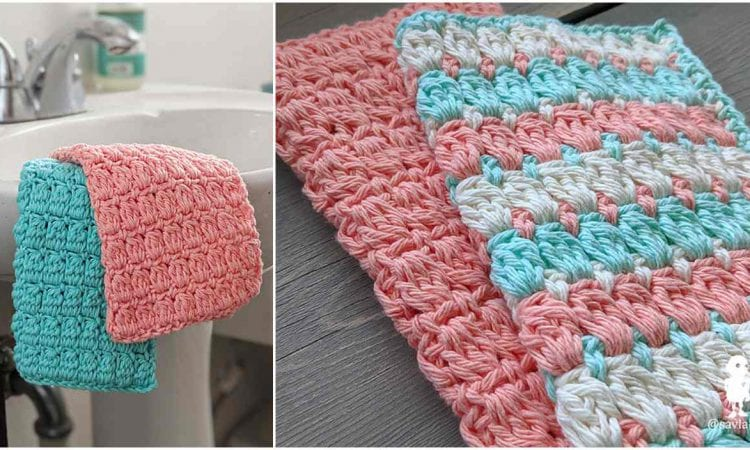 Bobble Stitch Washcloth Free Crochet Pattern