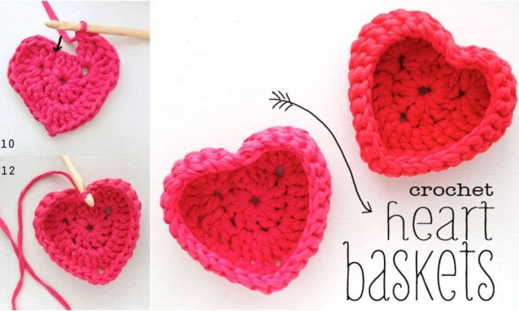 Heart Baskets Free Crochet Pattern